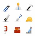 Worker and Equipment Tool Stock vector image