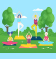 yoga in park flat girls vector image