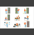 young engineer working in network server room vector image vector image