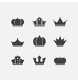 icons set of different black crowns shapessigns vector image
