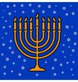 jewish traditional nine candle candelabrum vector image