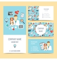 Set of flyer brochure and business cards for vet vector image
