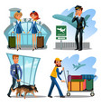 airport employees set guard with dog for safety vector image vector image