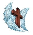 angel wings with wooden cross vector image vector image