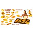bakery funny doodle set cute cartoon woman food vector image vector image