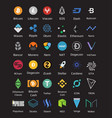 big set of crypto currency logo coins bitcoin nem vector image vector image