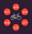 bikes linear icons cycling bicycles motorcycle vector image vector image