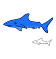 blue shark sketch doodle hand drawn vector image vector image
