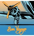 Bon voyage retro travel airplane poster vector image vector image