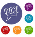 boo comic text speech bubble icons set vector image vector image