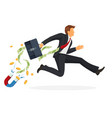 businessman in suit runs fast with leather vector image vector image