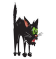 cartoon image of scared black cat vector image vector image