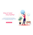 cartoon woman active does sport exercises with vector image