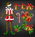 christmas celebration attributes 3d set vector image