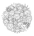 circle shape coloring page with happy sun black vector image vector image