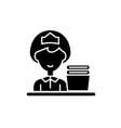 cleaning lady black icon sign on isolated vector image