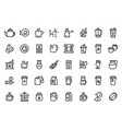 coffee line icons and tea shop outline vector image