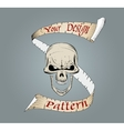 Colored complete human skull with a ribbon banner vector image vector image