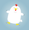cute big fat white hen flying vector image vector image