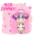 cute cartoon bull in panama among flowers vector image vector image