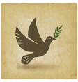 dove with olive branch vintage background vector image vector image