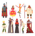 european medieval characters set knight wizard vector image vector image