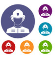 firefighter icons set vector image vector image
