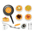 fluffy pancakes with honey chocolate blueberry vector image vector image