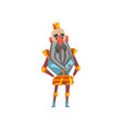 funny bearded king character in golden crown vector image vector image