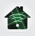 green black tartan isolated - house with signal vector image