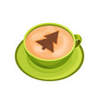 green cup of fresh coffee with drawing of fir tree vector image