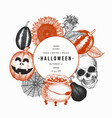 halloween design template hand drawn banner with vector image