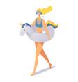 happy cute girl on inflatable unicorn swim ring vector image vector image