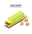 isometric delivery car and set cardboard boxes vector image