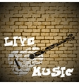 live music guitar on a brick background vector image vector image