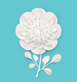 lush peony on small stem with leaves made of paper vector image