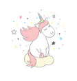 Magic cute unicorn in cartoon style