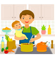 man with baby in the kitchen vector image vector image