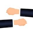 Mans hand right and left suit sleeve vector image vector image