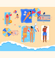 men and women relax at seaside resort in top view vector image