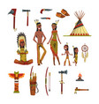 native american indians and traditional clothes vector image vector image