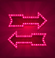 neon arrow left and right vector image vector image