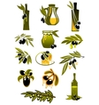 Olive oil bottles with branches and olives vector image vector image