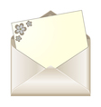 Open envelope with floral stationery vector image vector image