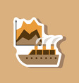 paper sticker on stylish background cruise ship vector image vector image