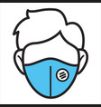 person wearing facial mask with filter preventive vector image