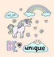 pink unicorn and rainbow with be a unique vector image vector image