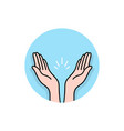 prayer or applause hands round logo vector image vector image