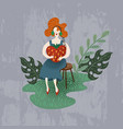 red-haired girl listens to a music player in the vector image