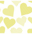 seamless pattern with yellow hearts hand drawn vector image
